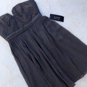 NWT J Crew Nadia Silk Chiffon Strapless Dress 8P